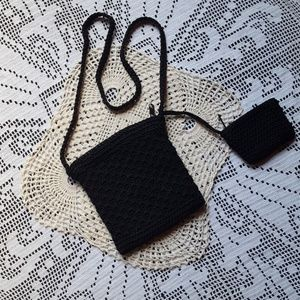 Small Black crocheted purse and change purse